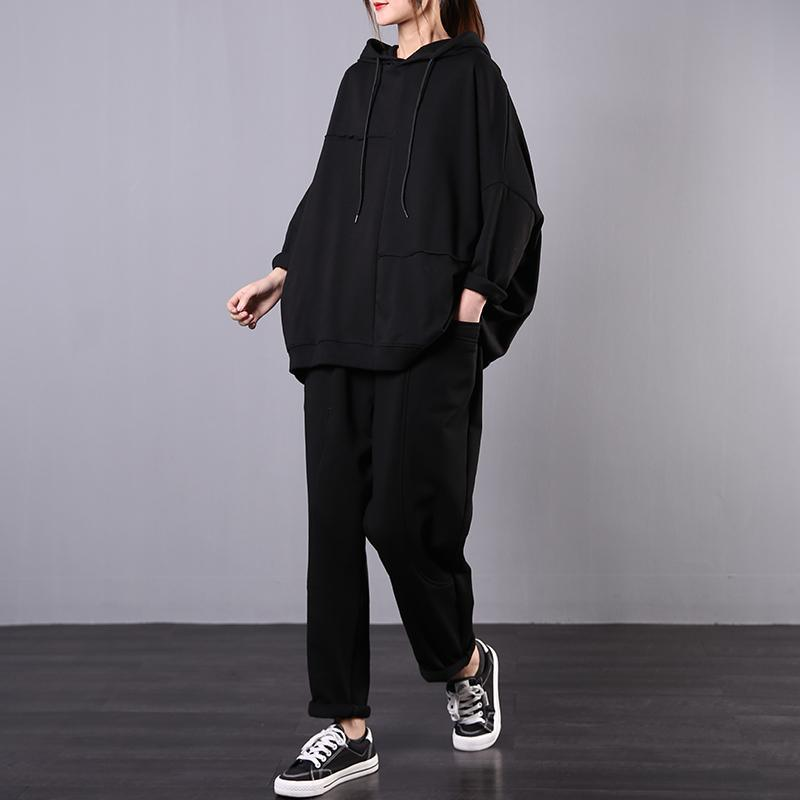 Spring Korean version of the large size meat cover was thin literary black shirt + black pants casual suit