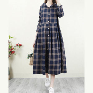 Spring blue Plaid coat Loose fitting hooded Button Down long coat