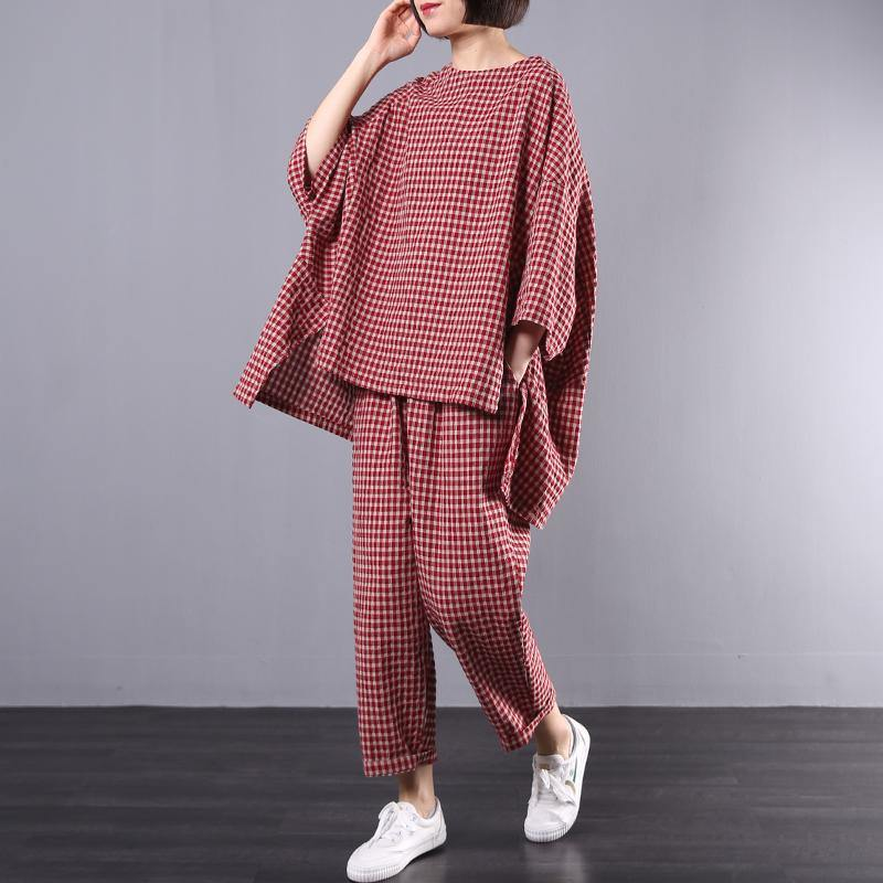 Spring loose art cotton red plaid suit female two-piece suit