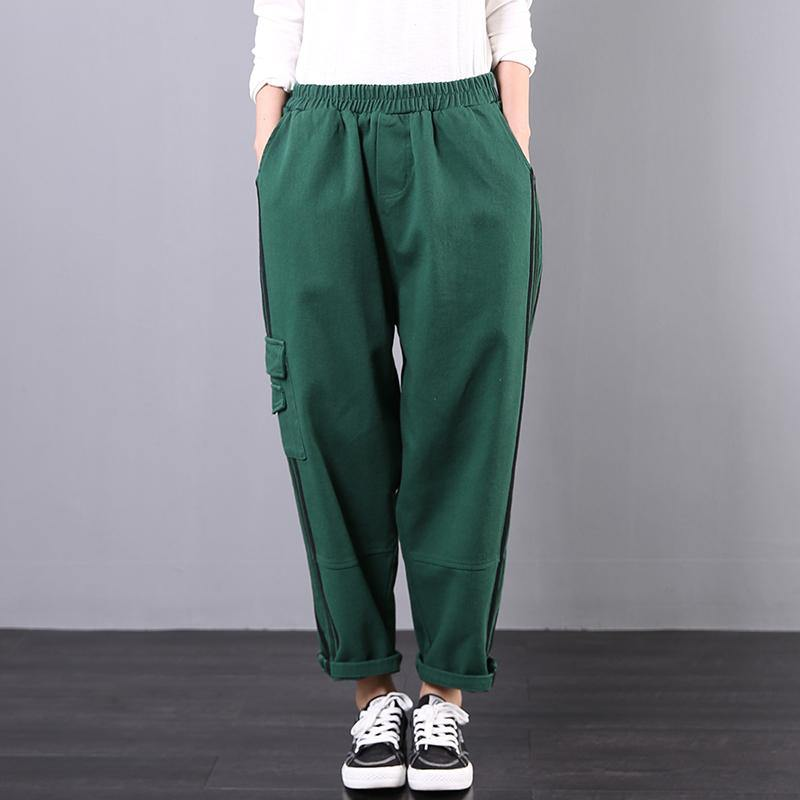 Spring loose art stripe tooling pocket green stitching harem pants women