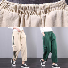 Load image into Gallery viewer, Spring loose art stripe tooling pocket green stitching harem pants women