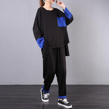 Load image into Gallery viewer, Spring loose large size black fight blue was thin casual suit