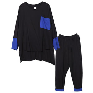 Spring loose large size black fight blue was thin casual suit