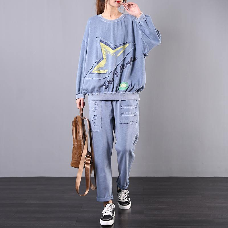 Spring loose large size retro blue casual sports two-piece suit