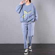 Load image into Gallery viewer, Spring loose large size retro blue casual sports two-piece suit