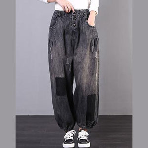 Spring new large size loose art gray skirt jeans women's casual pants