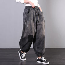 Load image into Gallery viewer, Spring new large size loose art gray skirt jeans women's casual pants