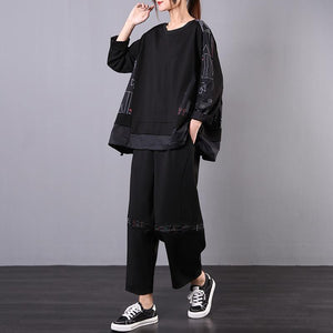 Spring new loose retro black suit women casual two-piece suit