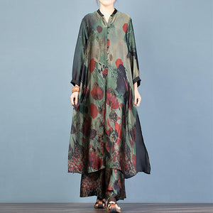 Spring plus size retro silk blend long cardigan shirt loose wide leg pants green print two-piece suit