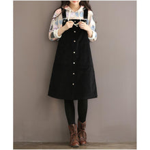 Load image into Gallery viewer, Spring corduroy dress strap dresses cotton causal dress black