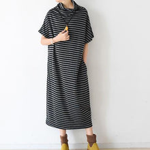 Load image into Gallery viewer, Spring short sleeve striped pullover caftans high neck design plus sized dress