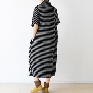 Spring short sleeve striped pullover caftans high neck design plus sized dress
