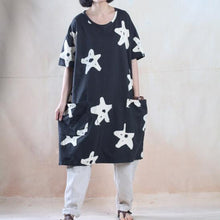 Load image into Gallery viewer, Star print oversize sundress baggy summer dresses cotton caftan shirt Navy