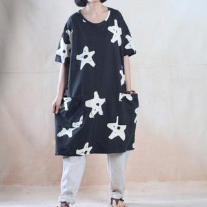 Star print oversize sundress baggy summer dresses cotton caftan shirt Navy