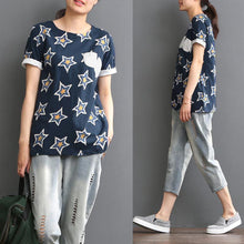 Load image into Gallery viewer, Star print short sleeve linen blouse top women shirt summer
