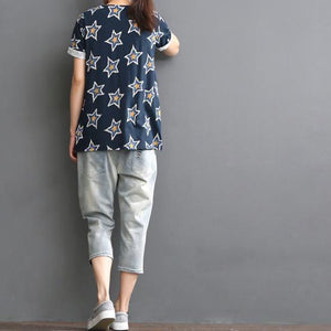 Star print short sleeve linen blouse top women shirt summer