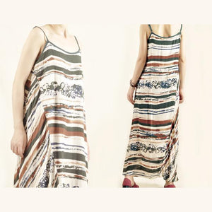 Strip cotton summer maxi dress linen sundress