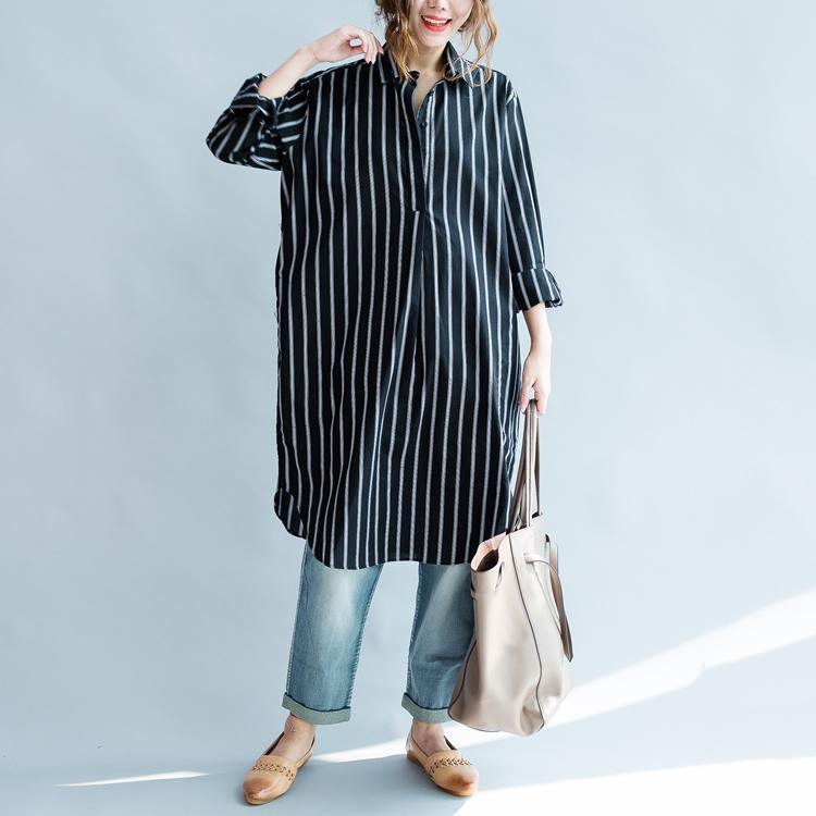 Striped black long sleeve womens linen shirts plus size women dresses cotton blouses