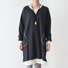 Laden Sie das Bild in den Galerie-Viewer, Striped cotton shirt dresses oversize shift dress