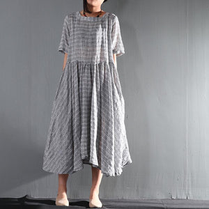 Striped gray flown linen sundress long causal summer maxi dresses oversize