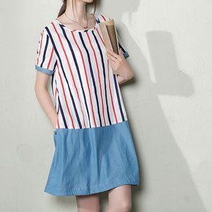 Striped patchwork plus size cotton sundress oversize linen shift dresses