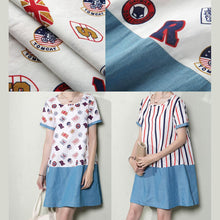 Load image into Gallery viewer, Striped patchwork plus size cotton sundress oversize linen shift dresses
