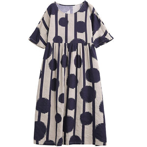 Stripes And Big Dots Retro Loose Dress