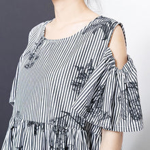 Load image into Gallery viewer, Stripes And Floral Printed Casual Dress