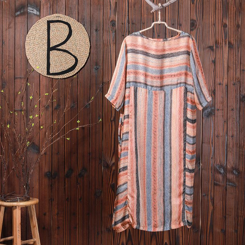 Stripes Print Casual Loose Polyester Dress