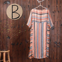 Load image into Gallery viewer, Stripes Print Casual Loose Polyester Dress
