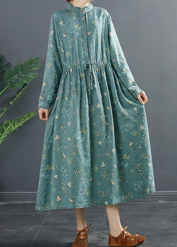 Style Button Spring Tunic Dress Pattern Green Print Dresses