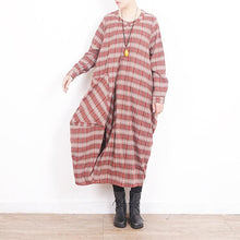 Load image into Gallery viewer, Style Large pockets cotton dresses Sweets Work red Plaid cotton Dresses
