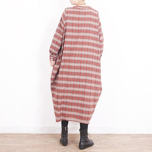 Style Large pockets cotton dresses Sweets Work red Plaid cotton Dresses