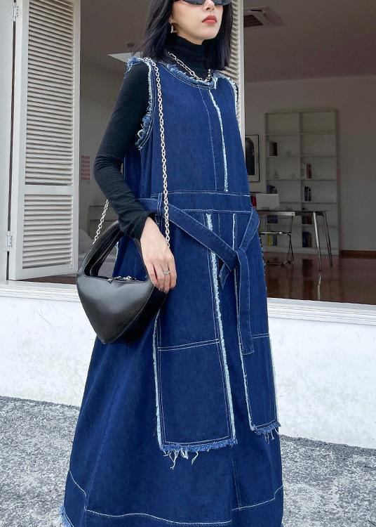 Style O Neck Patchwork Spring Tunic Pattern Sewing Denim Blue Long Dresses