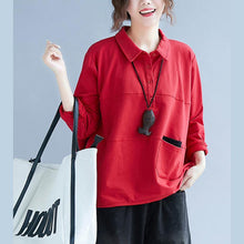 Load image into Gallery viewer, Style POLO collar cotton tunic pattern Sleeve red blouse patchwork