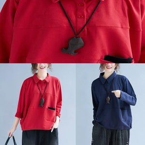 Style POLO collar cotton tunic pattern Sleeve red blouse patchwork
