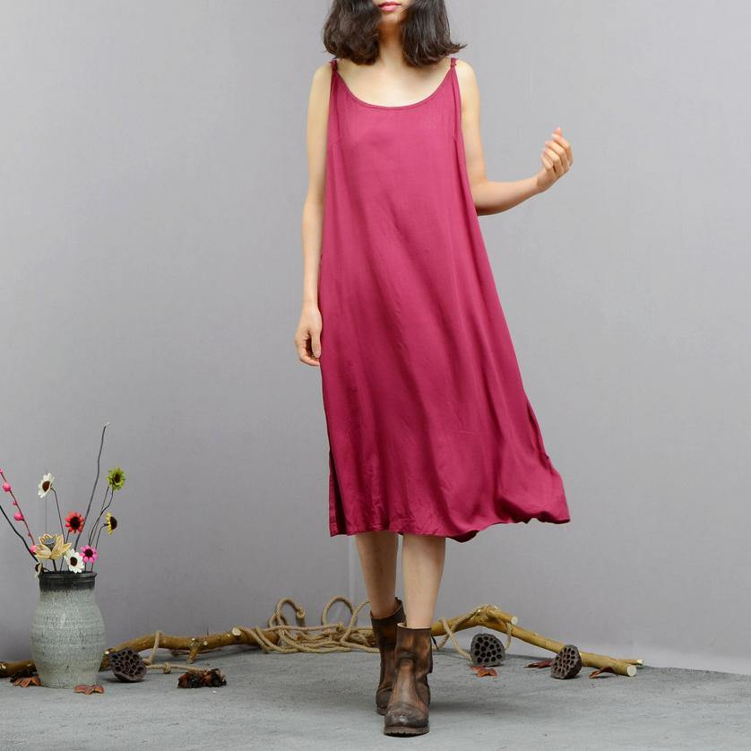 Style Spaghetti Strap cotton linen clothes 18th Century Sleeve purple long Dresses summer