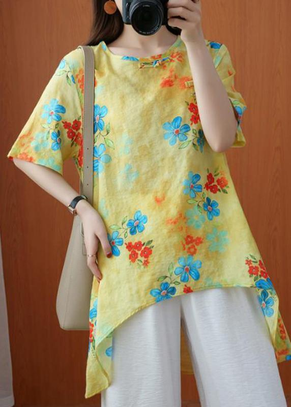 Style Yellow Crane Tops O-Neck Silhouette Summer Blouses
