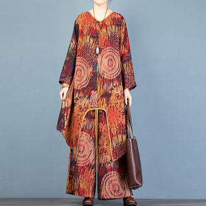 Style asymmetric chocolate print long cardigan and baggy wide leg p