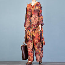 Load image into Gallery viewer, Style asymmetric chocolate print long cardigan and baggy wide leg p