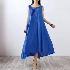 Style asymmetric linen cotton quilting clothes Fabrics blue sleeveless Dress summer
