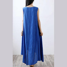 Laden Sie das Bild in den Galerie-Viewer, Style asymmetric linen cotton quilting clothes Fabrics blue sleeveless Dress summer