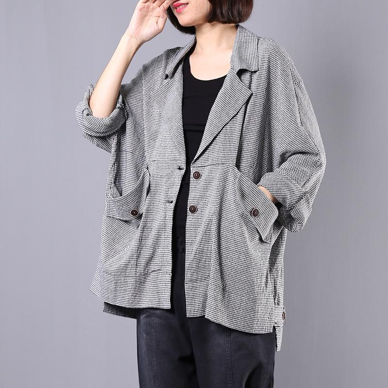 Style big pockets linen cotton clothes black plaid tunic short coats fall