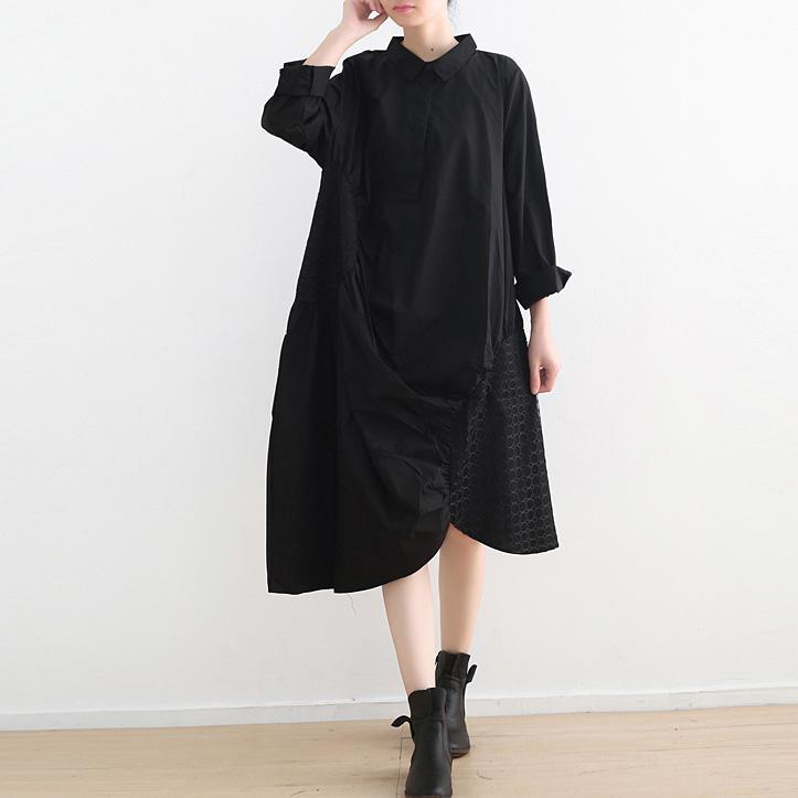 Style black cotton Tunics plus size Runway lapel asymmetric Kaftan Dresses
