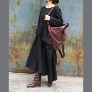 Style black cotton linen Robes o neck drawstring Maxi spring Dresses