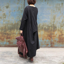 Load image into Gallery viewer, Style black cotton linen Robes o neck drawstring Maxi spring Dresses