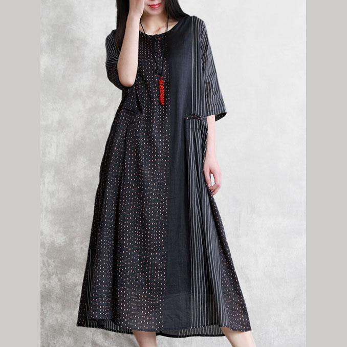 Style black striped linen Robes o neck patchwork Maxi summer Dress