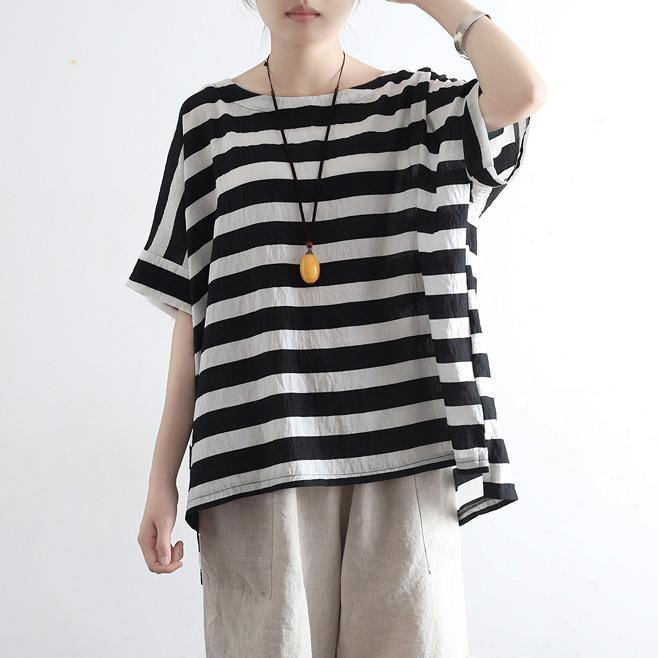 Style black white striped silk cotton clothes For Women Casual Fabrics o neck Plus Size Clothing tops