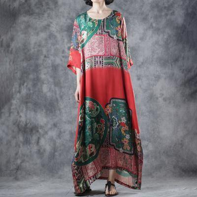 Style blended clothes Fitted Retro Contrasting Color Ethnic Style Printed Dress