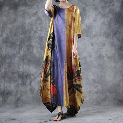 Style blended yellow Round Neck clothes top quality Half Sleeve  Loose Printed Dress